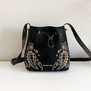 Michael Kors Cary Black Suede Grommet Bucket Bag